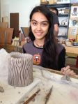 11th grader Jennifer E. shows off a work in progress...